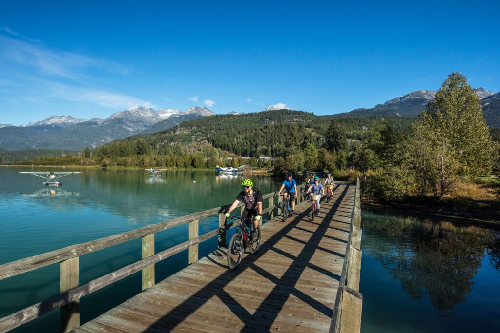 Riders exploring the Whistlers Valley Trail Network