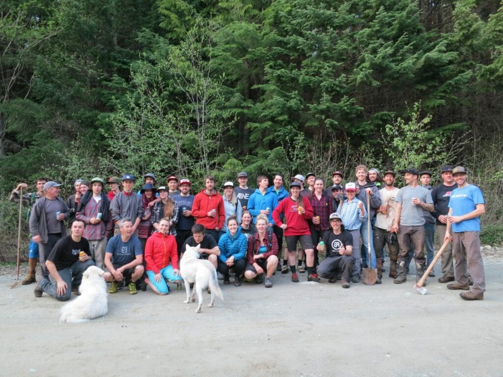 Trail building crew